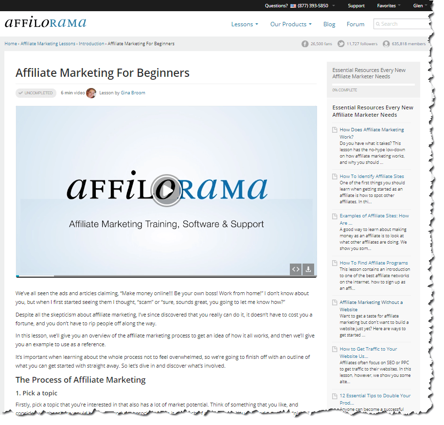 The first lesson - Affiliate Marketing for Beginners