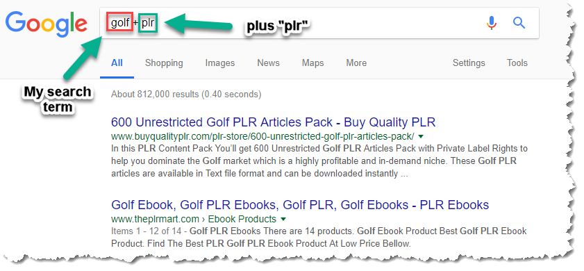 Searching for PLR products using Google