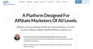 wealthy affiliate homepage view