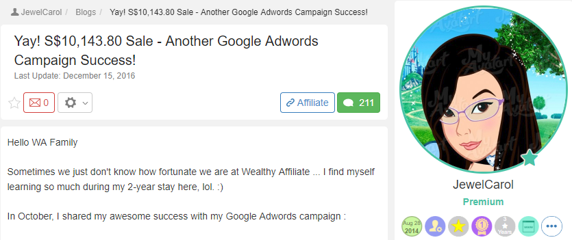 Wealthy Affiliate Success Story #1