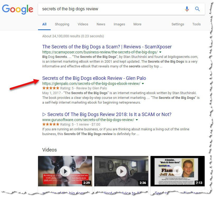 Google Search Engine Results Page showing results for the search term secrets of the big dogs review