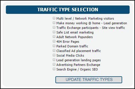 Traffic source options for advertisiers